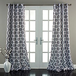 Chainlink Room Darkening Grommet Top Window Curtain Panel Pair