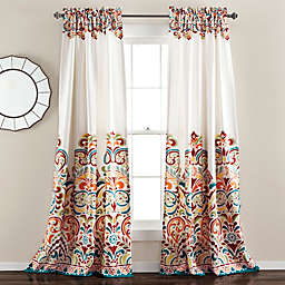 Lush Decor Clara 84-Inch Room Darkening Window Curtain Panels in Blue/Orange (Set of 2)