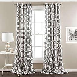 Edward Trellis Grommet Top Room Darkening Window Curtain Panel Pair in Grey (Single)