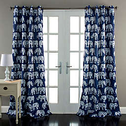 Elephant Parade 84-Inch Grommet Top Room Darkening Window Curtain Panel Pair