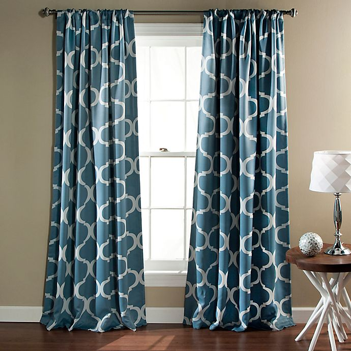 Alternate image 1 for Lush Décor Geo 84-Inch Rod Pocket Blackout Window Curtain Panel Pair in Blue