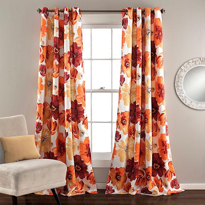 Alternate image 1 for Lush Décor Leah 84-Inch Grommet Top Room Darkening Window Curtain Panel Pair in Red/Orange