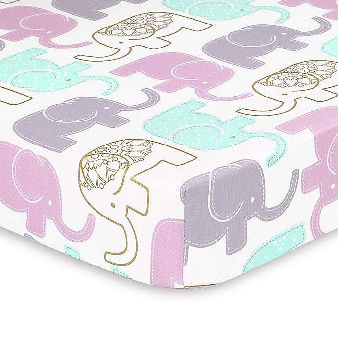 Alternate image 1 for The Peanut Shell® Little Peanut Elephant Fitted Crib Sheet in Lilac