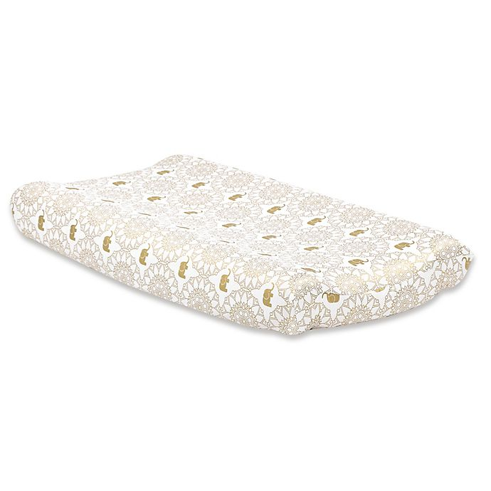 Alternate image 1 for The Peanutshell™ Little Peanut Crib Medallion Changing Pad Cover in Gold