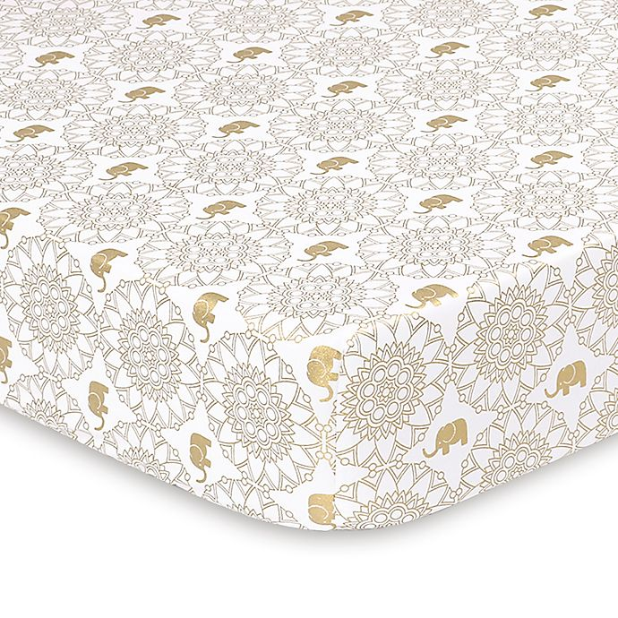 Alternate image 1 for The Peanut Shell® Little Peanut Medallion Fitted Crib Sheet in Golden