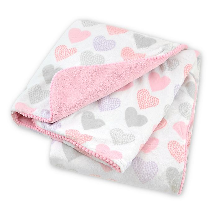 Alternate image 1 for Just Born® Pink Hearts Plush Blanket