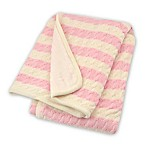 Just Born® Awning Stripe Cable Knit Blanket in Soft Pink/White