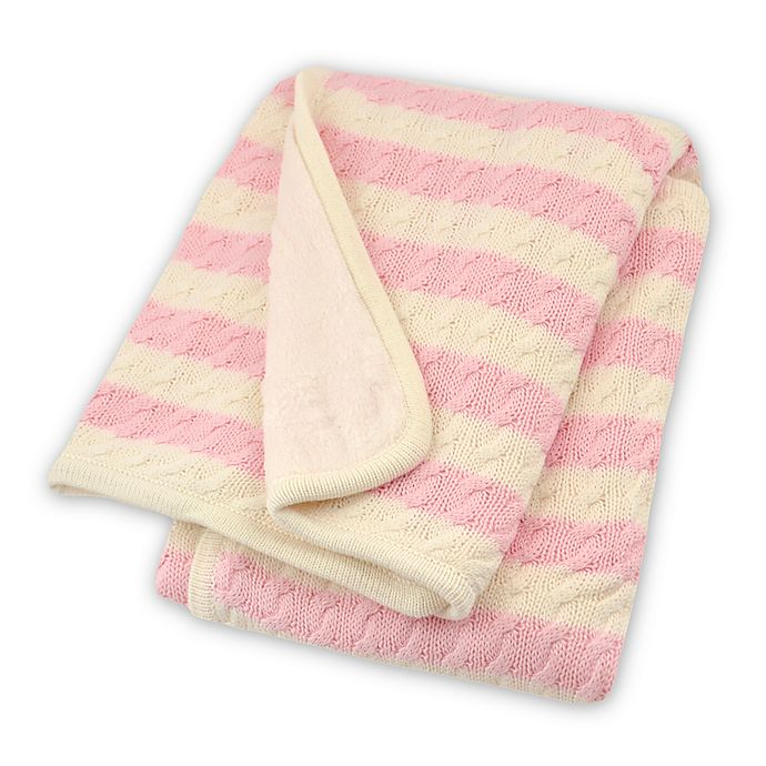 Alternate image 1 for Just Born® Awning Stripe Cable Knit Blanket in Soft Pink/White