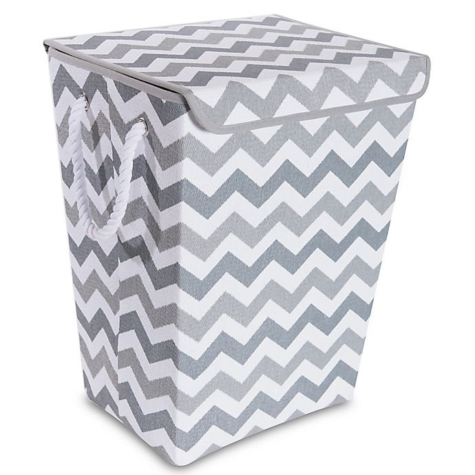 Alternate image 1 for Taylor Madison Designs® Chase Chevron Hamper in Grey/White