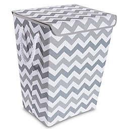 Taylor Madison Designs Chase Chevron Hamper In Grey White