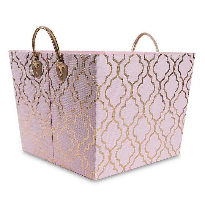 Alternate image 1 for Taylor Madison Designs® Kayla Storage Bin in Pink/Gold Foil