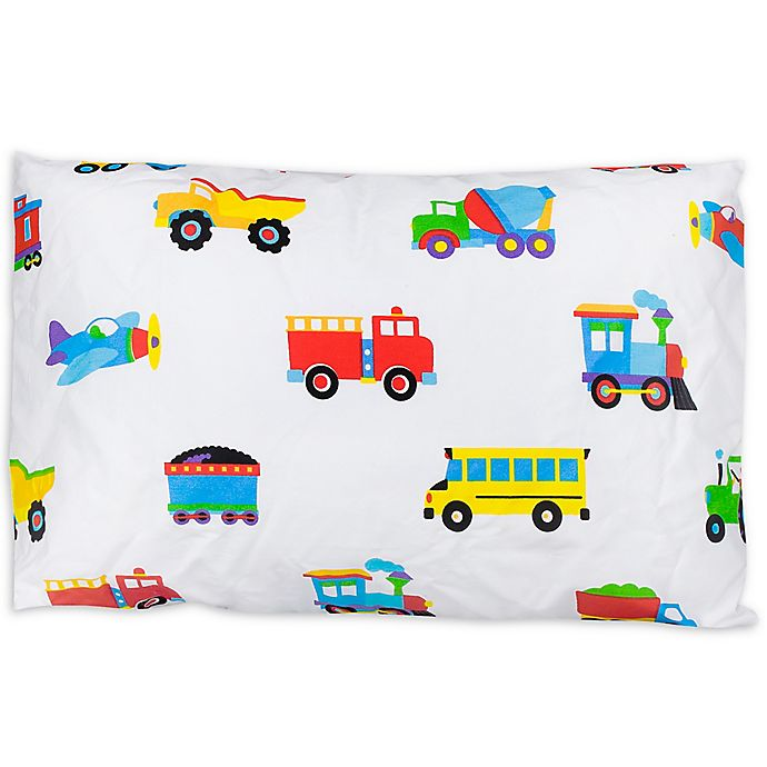 Alternate image 1 for Olive Kids Trains, Planes, and Trucks  Multicolor Toddler Pillowcase