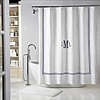 Wamsutta® Baratta 72-Inch x 72-Inch Shower Curtain in White/Navy