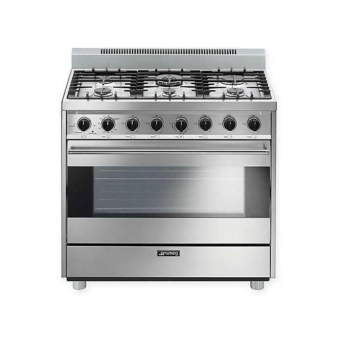 Alternate image 1 for Smeg Pro-Style 36-Inch Free-Standing Gas Range in Stainless Steel
