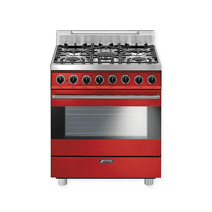 Alternate image 1 for Smeg Pro-Style 36-Inch Free-Standing Gas Range in Red