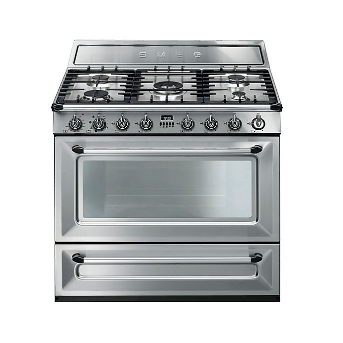 Alternate image 1 for Smeg Victoria 36-Inch Free-Standing Dual-Fuel Range in Stainless Steel
