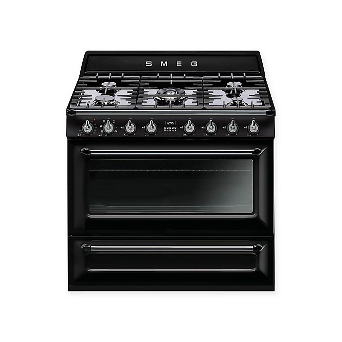 Alternate image 1 for Smeg Victoria 36-Inch Free-Standing Dual-Fuel Range in Black