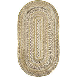Capel Rugs Harborview Braided 3-Foot x 5-Foot Oval Area Rug in Natural