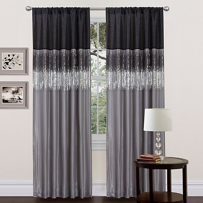 Alternate image 1 for Lush Décor Night Sky 84-Inch Rod Pocket Window Curtain Panel in Black/Grey