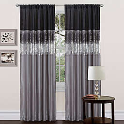 Lush Décor Night Sky 84-Inch Rod Pocket Window Curtain Panel in Black/Grey