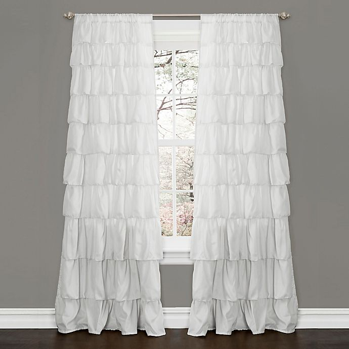 Lush Décor Ruffle 84-Inch Rod Pocket Window Curtain Panel