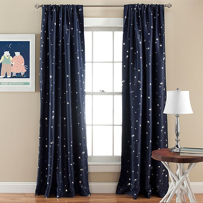 Alternate image 1 for Lush Décor Star Blackout 84-Inch Rod Pocket Window Curtain Panel Pair in Navy