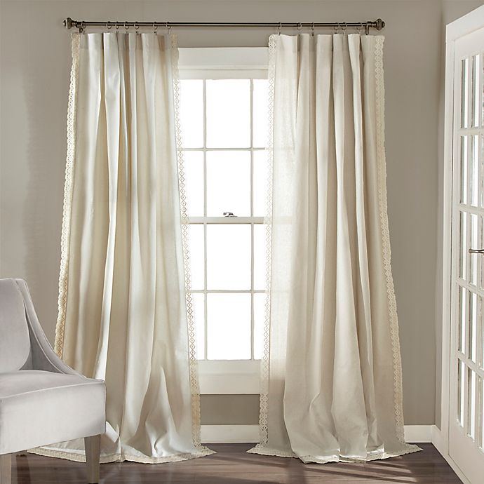 Alternate image 1 for Lush Décor Rosalie 84-Inch Rod Pocket Window Curtain Panel Pair in Ivory