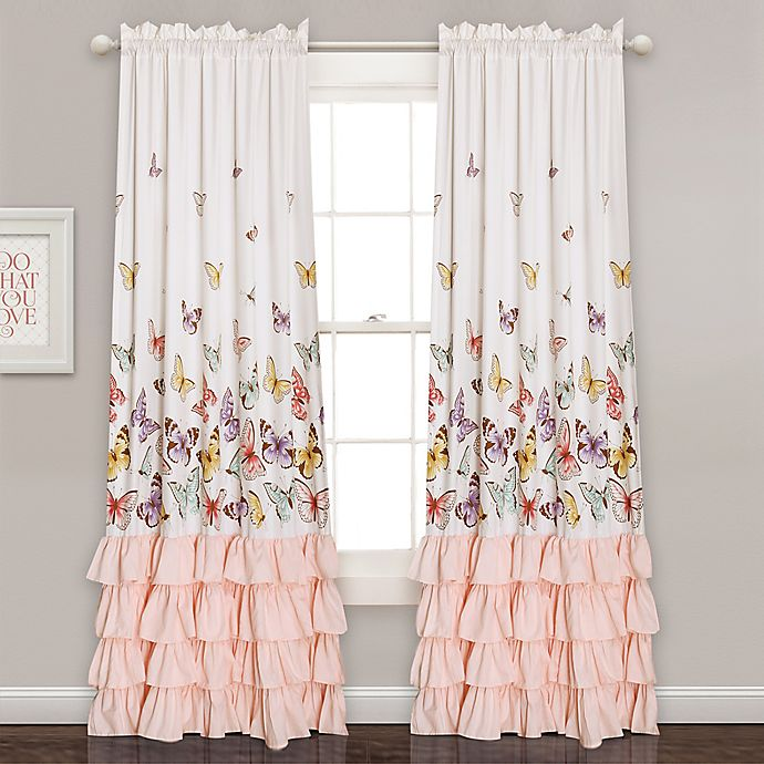 Alternate image 1 for Flutter Butterfly 84-Inch Rod Pocket Window Curtain Panel Pair in Pink