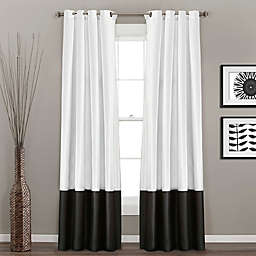 Prima 2-Pack 84-Inch Grommet Window Curtain Panels in Black/White