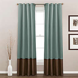 Prima 84-Inch Grommet Window Curtain Panels in Blue/Chocolate (Set of 2)