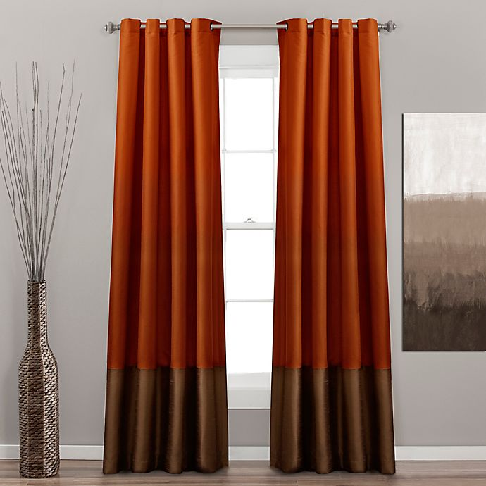 Alternate image 1 for Prima 84-Inch Grommet Window Curtain Panels in Rust/Brown (Set of 2)