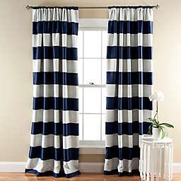 Stripe Room Darkening 84-Inch Rod Pocket Window Curtain Panels  in Navy (Set of 2)
