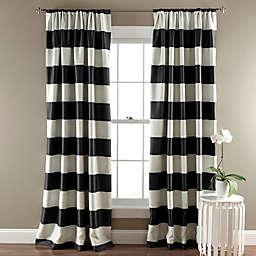 Stripe Room Darkening 84-Inch Rod Pocket Window Curtain Panels  in Black (Set of 2)