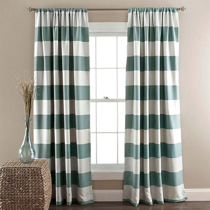 Alternate image 1 for Stripe Room Darkening 84-Inch Rod Pocket Window Curtain Panel Pair