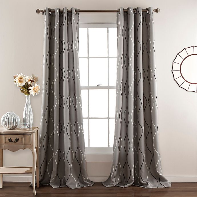 Alternate image 1 for Lush Décor Swirl 84-Inch Room Darkening Grommet Top Window Curtain Panel Pair in Grey