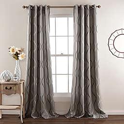 Swirl 84-Inch Room Darkening Grommet Window Curtain Panels (Set of 2)