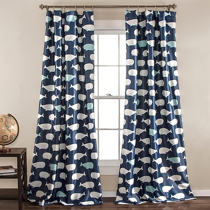 Alternate image 1 for Whale Print 84-Inch Room Darkening Window Curtain Panels (Set of 2)