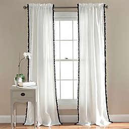 Pom Pom 84-Inch Rod Pocket Window Curtain Panel in Black (Single)