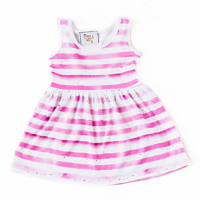 Alternate image 1 for Pickles N' Roses™ Size 6-12M Striped Day Dress in Pink
