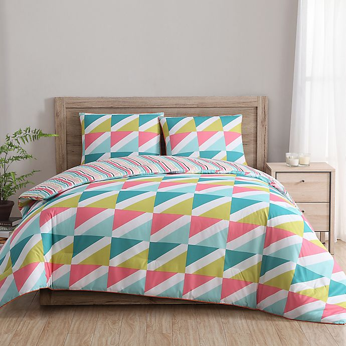 Clairebella Tropical Comforter Set in Teal/Pink | Bed Bath ...