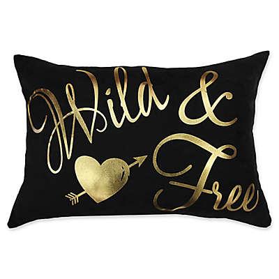 "Sugar Skull ""Wild & Free"" Oblong Throw Pillow in Black/Gold"