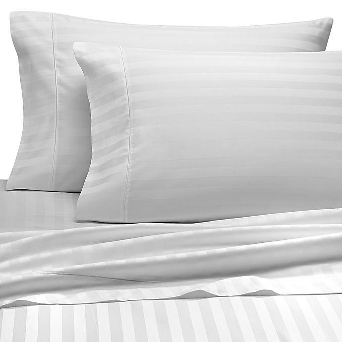 Alternate image 1 for Wamsutta® Stripe 500-Thread-Count PimaCott® Olympic Queen Sheet Set in White