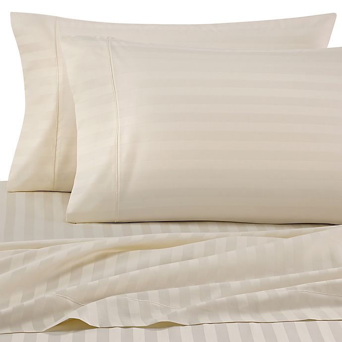 Alternate image 1 for Wamsutta® Stripe 500-Thread-Count PimaCott® Queen Sheet Set in Ivory