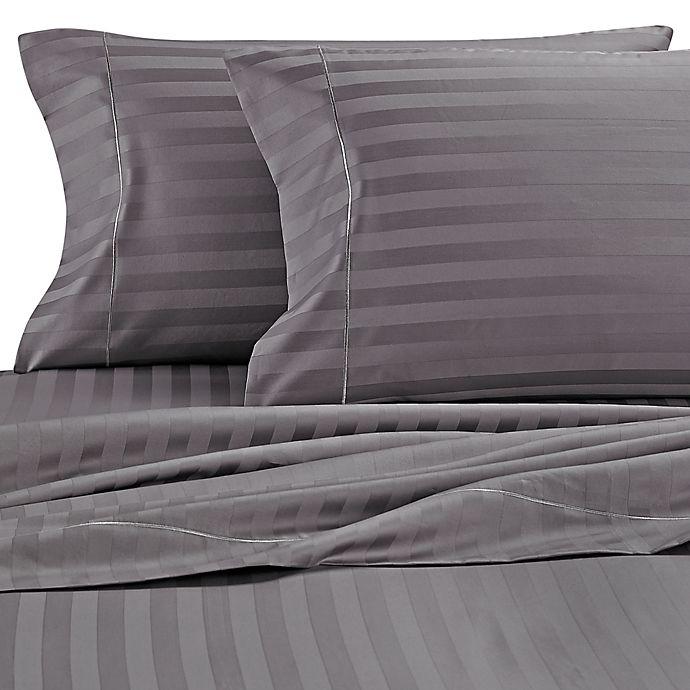 Alternate image 1 for Wamsutta® Stripe 500-Thread-Count PimaCott® Olympic Queen Sheet Set in Grey