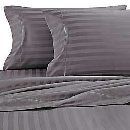 Wamsutta® Stripe 500-Thread-Count PimaCott® Olympic Queen Sheet Set in Grey