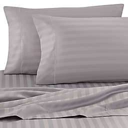 Wamsutta® Stripe 500-Thread-Count PimaCott® Olympic Queen Sheet Set in Silver