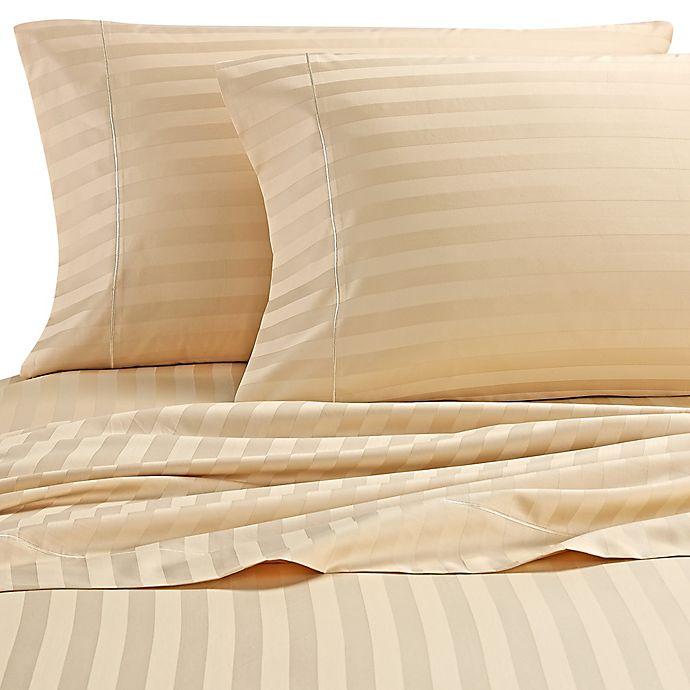 Alternate image 1 for Wamsutta® Stripe 500-Thread-Count PimaCott® Dual California King Sheet Set in Honey