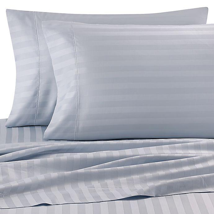 Alternate image 1 for Wamsutta® Stripe 500-Thread-Count PimaCott® Dual California King Sheet Set in Light Blue