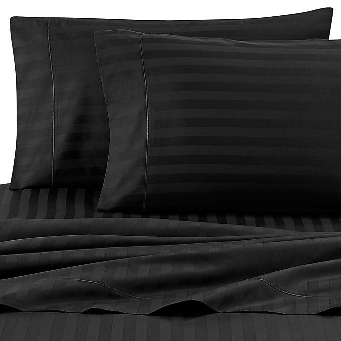 Alternate image 1 for Wamsutta® Stripe 500-Thread-Count PimaCott® Full XL Sheet Set in Black