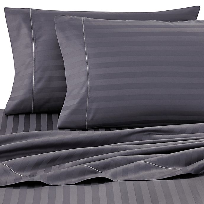 Alternate image 1 for Wamsutta® Stripe 500-Thread-Count PimaCott® Olympic Queen Sheet Set in Denim